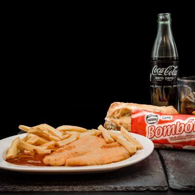 Ofertas Menú Infantil Alcorcón. FIlete de pollo empanado con patatas fritas y salsa de tomate, agua mineral o refresco (a elegir), helado o fruta de temporada y pan 4,95€. Museo Jamón Parque Oeste Alcorcón