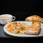 Consomé, Salmon a la plancha y ensaladilla rusa. Museo del Jamón Alcorcón
