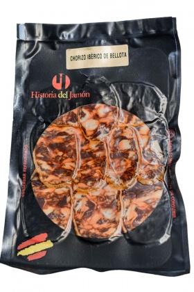 Sobre Loncheado Chorizo Ibérico de Bellota Historia del Jamón. Supermercado Museo del Jamón de Alcorcón