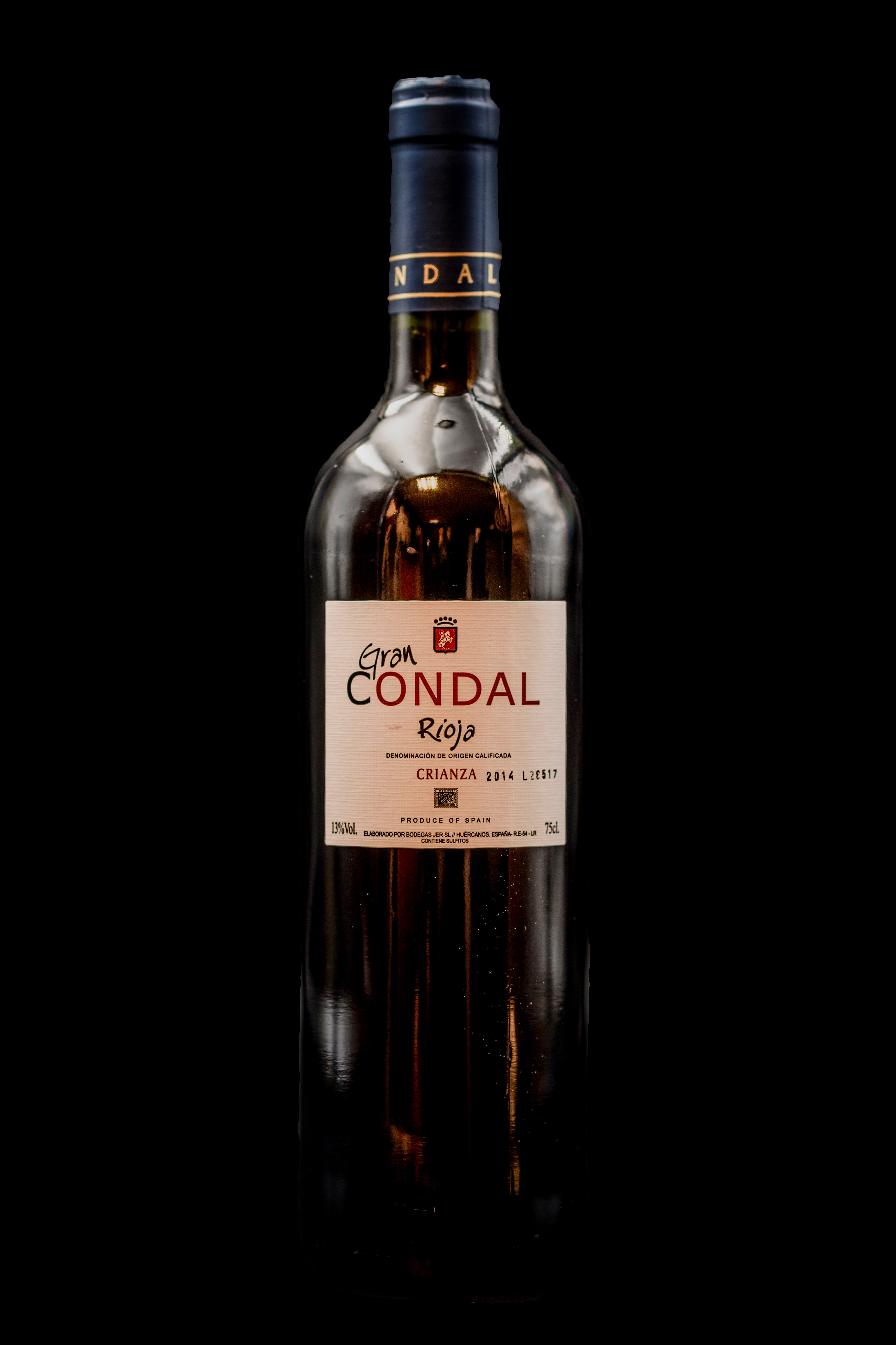 Botella Vino Tinto Rioja Gran Condal Crianza Restaurante Museo del Jamón de Alcorcón